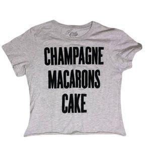 Cold crush shirt velvet fuzzy writing champagne